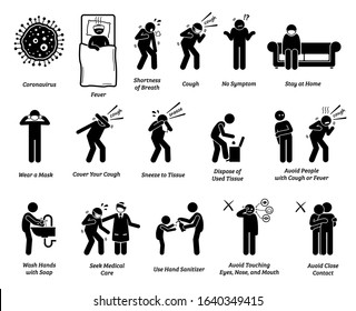 Sign symptoms of coronavirus Covid-19 prevention tips. Vector artwork of people infected with coronavirus, influenza, or flu. Precaution and prevention ways to stop the pandemic virus from spreading.
