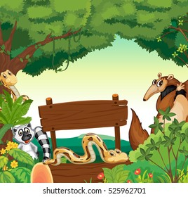Sign template with many animals in jungle illustration