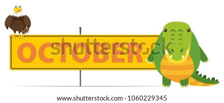 sign template october crocodile illustration stock vector royalty