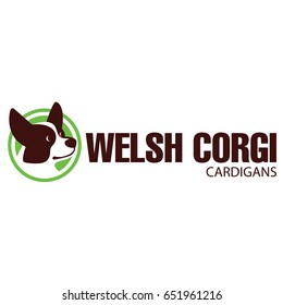 Sign template with stylized vector drawing of head of dog Welsh Corgi breed