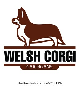 Sign template with stylized vector drawing of Welsh Corgi breed standing in profile