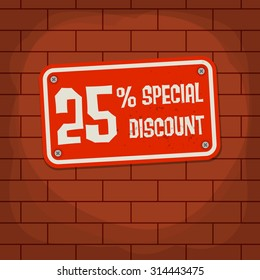 Sign with text Special Discount, vector illustration