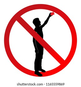 Sign that prohibits selfies and shooting on a smartphone. Vector illustration. Teenager silhouette