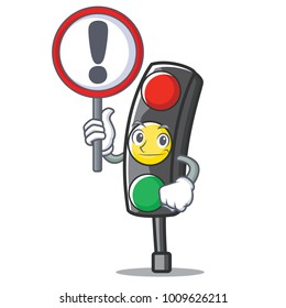 With sign traffic light character cartoon