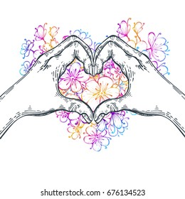 Sign, two hands forming a heart on a floral background in a heart. Vector illustration. A symbol of love.