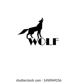 Sign vector wolf isolated on white background. Black silhouette of a wolf with an inscription template for design business cards or corporate identity.