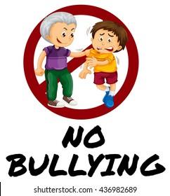 Sign warning for no bullying illustration