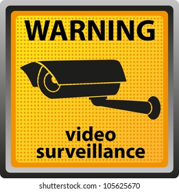 sign warning of surveillance camera vector illustration