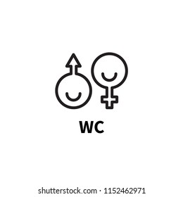 Sign wc, toilet, water closet, male and female, funny symbol washroom. Vector
