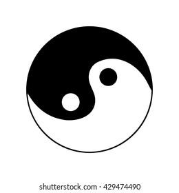 Sign yin and yang. Monochrome symbol of balance. Plane mark isolated on white background. Asian icon of harmony. Image concept of daoism. Stock vector illustration