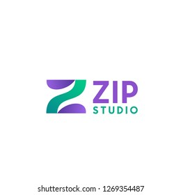 Sign for Zip studio or clothes atelier. Fashion and clothing shop concept. Creative emblem for tailor or dressmaking studio. Abstract badge for sewing industry, textile business or atelier boutique