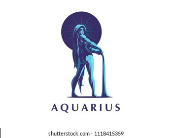 Sign of the zodiac Aquarius. Constellation of Aquarius. Vector illustration.