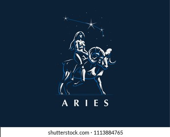 Sign of the zodiac Aries. The girl rides on Aries under the constellation of Aries. Vector emblem.