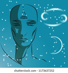 Sign of zodiac Cancer. Girl is fortuneteller with third eye, constellation, sign of zodiac and planet as protector. Vector background of stars. Trigon water.