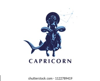 Sign of the zodiac Capricorn. Constellation of Capricorn. A woman riding a horse in Capricorn. Vector illustration.