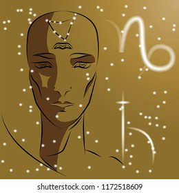 Sign of zodiac Capricorn. Girl is fortuneteller with third eye, constellation, sign of zodiac and planet as protector. Vector background of stars. Trigon is earth.