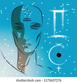 Sign of zodiac Gemini. Girl is fortuneteller with third eye, constellation, sign of zodiac and planet as protector. Vector background of stars. Trigon of air.