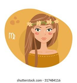 Sign of the zodiac. Horoscope. Astrology. Vector isolated illustration. Cartoon characters. Virgo