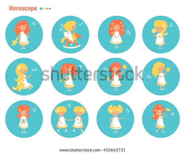 Sign of the zodiac. Horoscope. Astrology. Vector isolated illustration. Cartoon characters.