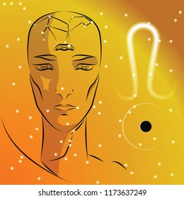 Sign of zodiac Leo. Girl is fortuneteller with third eye, constellation, sign of zodiac and planet as protector. Vector background of stars. Trigon fire.