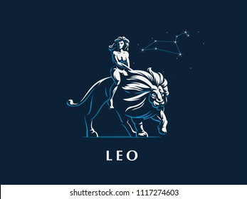 Sign of the zodiac Leo. A woman is riding a lion. Constellation of Leo. Vector illustration.