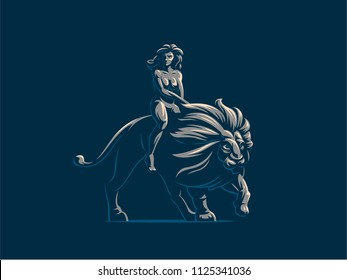 Sign of the zodiac Leo. A woman is riding a lion. Vector illustration.