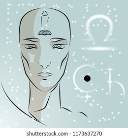 Sign of zodiac Libra. Girl is fortuneteller with third eye, constellation, sign of zodiac and planet as protector. Vector background of stars. Trigon of air.