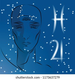 Sign of Zodiac Pisces. Girl is fortuneteller with third eye, constellation, sign of zodiac and planet as protector. Vector background of stars. Trigon water.