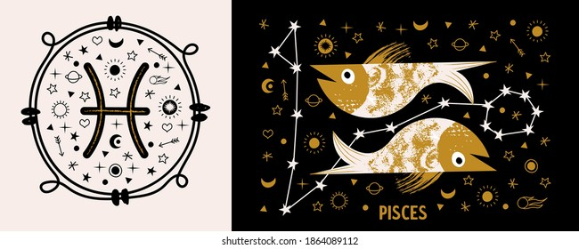 Sign of the Zodiac Pisces. Vector illustration.