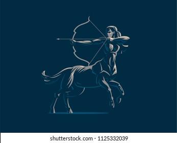 Sign of the zodiac Sagittarius. The centaur shoots a bow. Vector illustration.