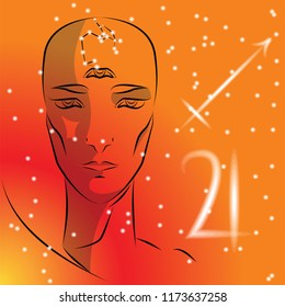 Sign of zodiac Sagittarius. Girl is fortuneteller with third eye, constellation, sign of zodiac and planet as protector. Vector background of stars. Trigon fire.