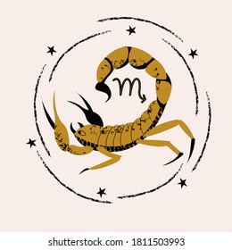 Sign of the zodiac Scorpio. Constellation of the Scorpion. Vector illustration.
