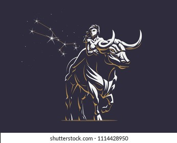 Sign of the zodiac Taurus. A woman is riding a bull. Constellation of Taurus. Vector illustration.