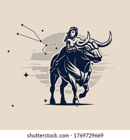 Sign of the zodiac Taurus. A woman is riding a bull. Constellation of Taurus. White background. Vector illustration.