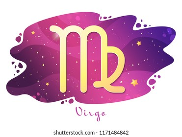 Sign of the zodiac of Virgo, astrological horoscope, predictions for the new year, symbol on stary magic sky background. Vector illustration