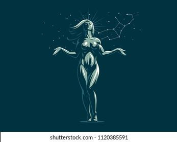 Sign of the zodiac Virgo. Constellation of the Virgo. Vector illustration.