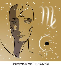 Sign of zodiac Virgo. Girl is fortuneteller with third eye, constellation, sign of zodiac and planet as protector. Vector background of stars. Trigon is earth.