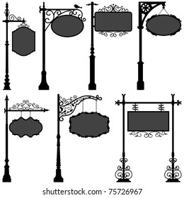 Signage Shop Sign Route Pole Information Frame Direction Plate Ornate Banner