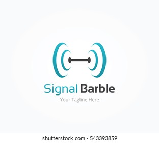 Signal Barbell, Tools Gym and Fitness Logo Template