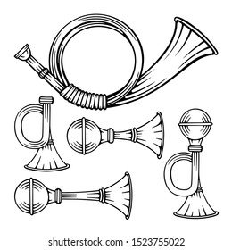 Signal horn. Hunting and vehicle vintage horns hand drawn illustrations. Retro golden trumpet and horns vector graphics set. Part of set.