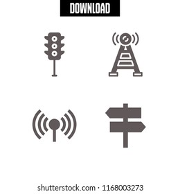signal icon. 4 signal vector set. traffic light, two opposite arrows signal and antenna icons for web and design about signal theme