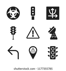 signal icon. 9 signal vector icons set. parabolic, biohazard and turn left icons for web and design about signal theme