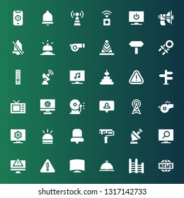 signal icon set. Collection of 36 filled signal icons included News, Ladder, Bell, Television, Warning, Alert, Satellite dish, Paint roller, Hooter, Whistle, Antenna, Notification