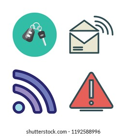 signal icon set. vector set about rss, warning, car key and rss feed icons set.
