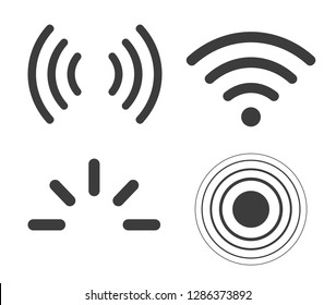 Signal icons vector set iradio signals waves. Radar, wifi, antenna