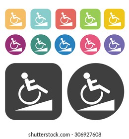 Signal ramps for the disabled slope icons set. Vector Illustration eps10