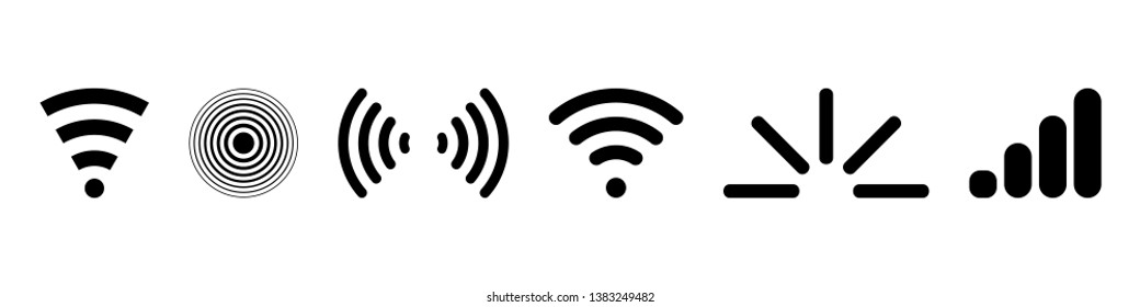 Signal set vector icons. Radio signals waves and light rays, radar, wifi, antenna and satellite signal symbols. Wireless technologys. Vector illustration.