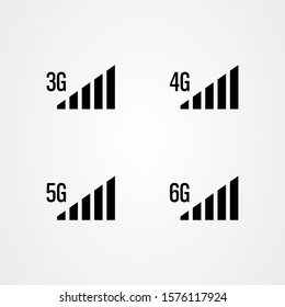 Signal strength icons. 3g, 4g, 5g, 6g internet vector illustration.