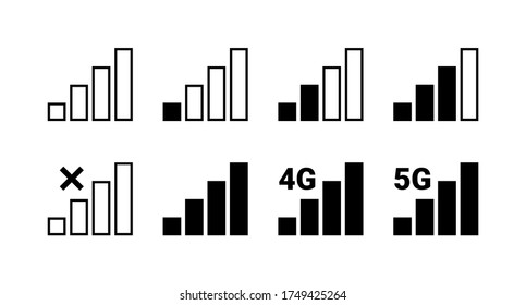 Signal strength indicator set, mobile phone bar status icon. No signal symbol, 4g and 5g network connection level sign isolated on white. Vector illustration for web, app, design interface.