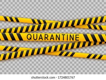 Signal tape border for quarantine coronavirus design on transparent background